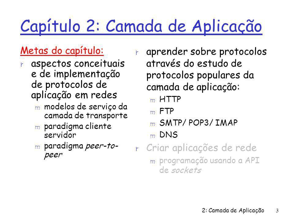 2: Camada de Aplicação3 Capítulo 2: Camada de Aplicação Metas do capítulo: r aspectos conceituais e de implementação de protocolos de aplicação em red
