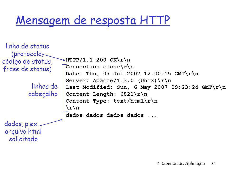 2: Camada de Aplicação31 Mensagem de resposta HTTP HTTP/1.1 200 OK\r\n Connection close\r\n Date: Thu, 07 Jul 2007 12:00:15 GMT\r\n Server: Apache/1.3