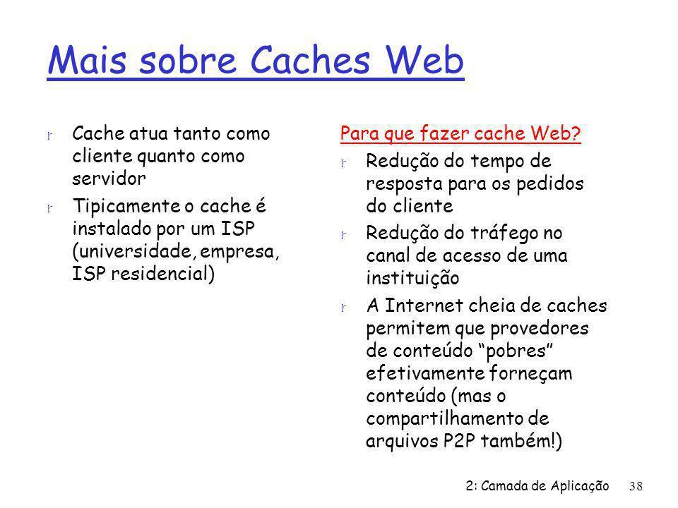 2: Camada de Aplicação38 Mais sobre Caches Web r Cache atua tanto como cliente quanto como servidor r Tipicamente o cache é instalado por um ISP (univ