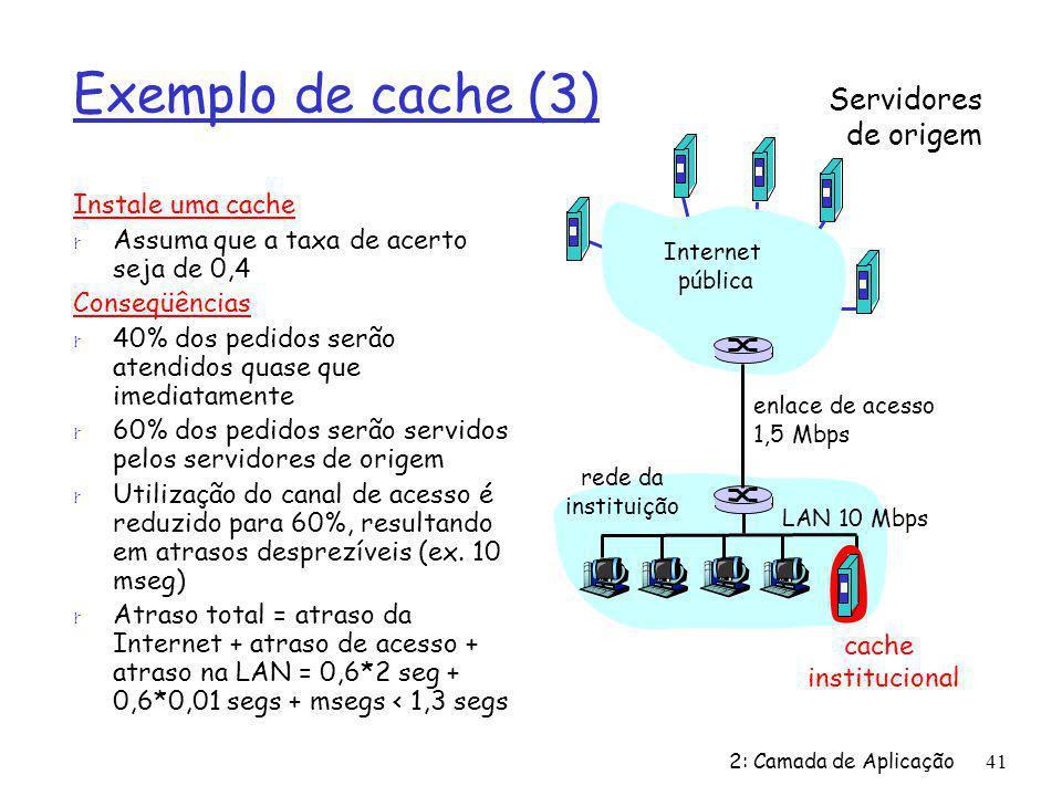 2: Camada de Aplicação41 Exemplo de cache (3) Instale uma cache r Assuma que a taxa de acerto seja de 0,4 Conseqüências r 40% dos pedidos serão atendi