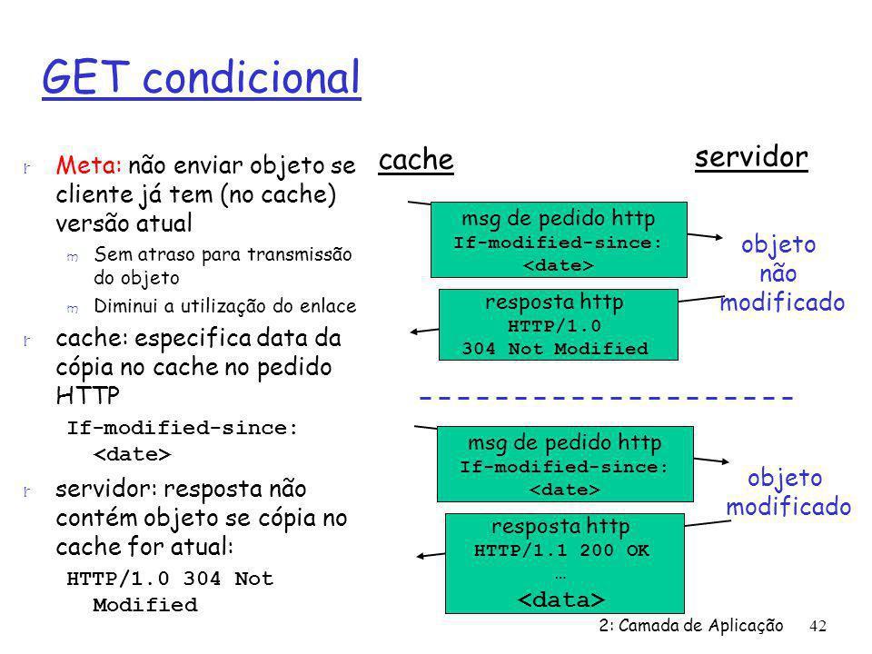 2: Camada de Aplicação42 GET condicional r Meta: não enviar objeto se cliente já tem (no cache) versão atual m Sem atraso para transmissão do objeto m