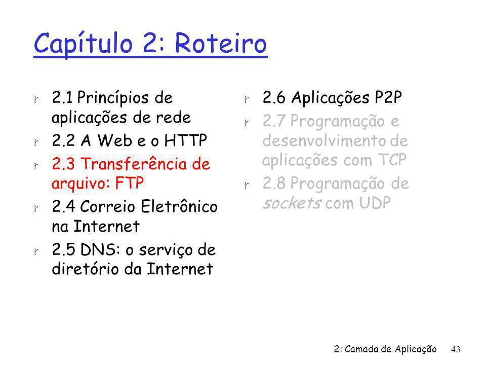 2: Camada de Aplicação43 Capítulo 2: Roteiro r 2.1 Princípios de aplicações de rede r 2.2 A Web e o HTTP r 2.3 Transferência de arquivo: FTP r 2.4 Cor