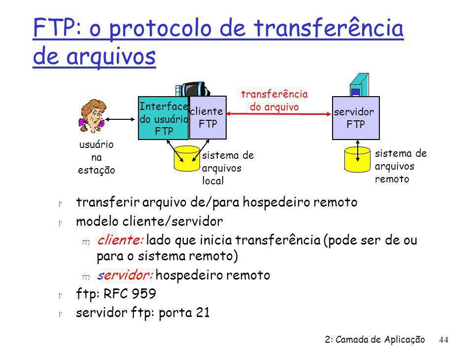 2: Camada de Aplicação44 FTP: o protocolo de transferência de arquivos r transferir arquivo de/para hospedeiro remoto r modelo cliente/servidor m cliente: lado que inicia transferência (pode ser de ou para o sistema remoto) m servidor: hospedeiro remoto r ftp: RFC 959 r servidor ftp: porta 21 transferência do arquivo servidor FTP Interface do usuário FTP cliente FTP sistema de arquivos local sistema de arquivos remoto usuário na estação