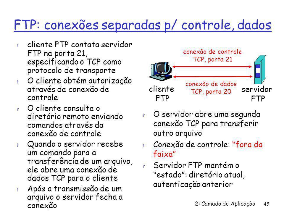 2: Camada de Aplicação45 FTP: conexões separadas p/ controle, dados r cliente FTP contata servidor FTP na porta 21, especificando o TCP como protocolo de transporte r O cliente obtém autorização através da conexão de controle r O cliente consulta o diretório remoto enviando comandos através da conexão de controle r Quando o servidor recebe um comando para a transferência de um arquivo, ele abre uma conexão de dados TCP para o cliente r Após a transmissão de um arquivo o servidor fecha a conexão r O servidor abre uma segunda conexão TCP para transferir outro arquivo r Conexão de controle: fora da faixa r Servidor FTP mantém o estado: diretório atual, autenticação anterior cliente FTP servidor FTP conexão de controle TCP, porta 21 conexão de dados TCP, porta 20