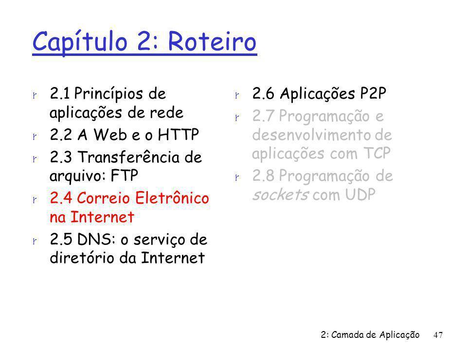 2: Camada de Aplicação47 Capítulo 2: Roteiro r 2.1 Princípios de aplicações de rede r 2.2 A Web e o HTTP r 2.3 Transferência de arquivo: FTP r 2.4 Cor