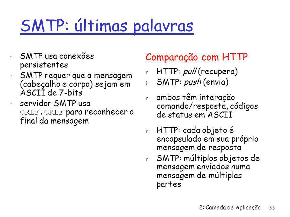 2: Camada de Aplicação55 SMTP: últimas palavras r SMTP usa conexões persistentes r SMTP requer que a mensagem (cabeçalho e corpo) sejam em ASCII de 7-