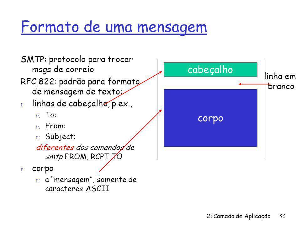 2: Camada de Aplicação56 Formato de uma mensagem SMTP: protocolo para trocar msgs de correio RFC 822: padrão para formato de mensagem de texto: r linhas de cabeçalho, p.ex., m To: m From: m Subject: diferentes dos comandos de smtp FROM, RCPT TO r corpo m a mensagem, somente de caracteres ASCII cabeçalho corpo linha em branco