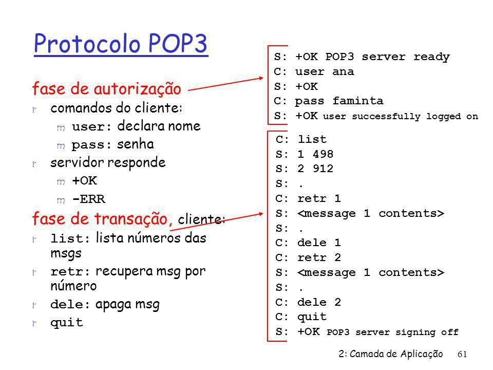 2: Camada de Aplicação61 Protocolo POP3 fase de autorização r comandos do cliente: user: declara nome pass: senha r servidor responde m +OK -ERR fase de transação, cliente: list: lista números das msgs retr: recupera msg por número dele: apaga msg r quit C: list S: 1 498 S: 2 912 S:.