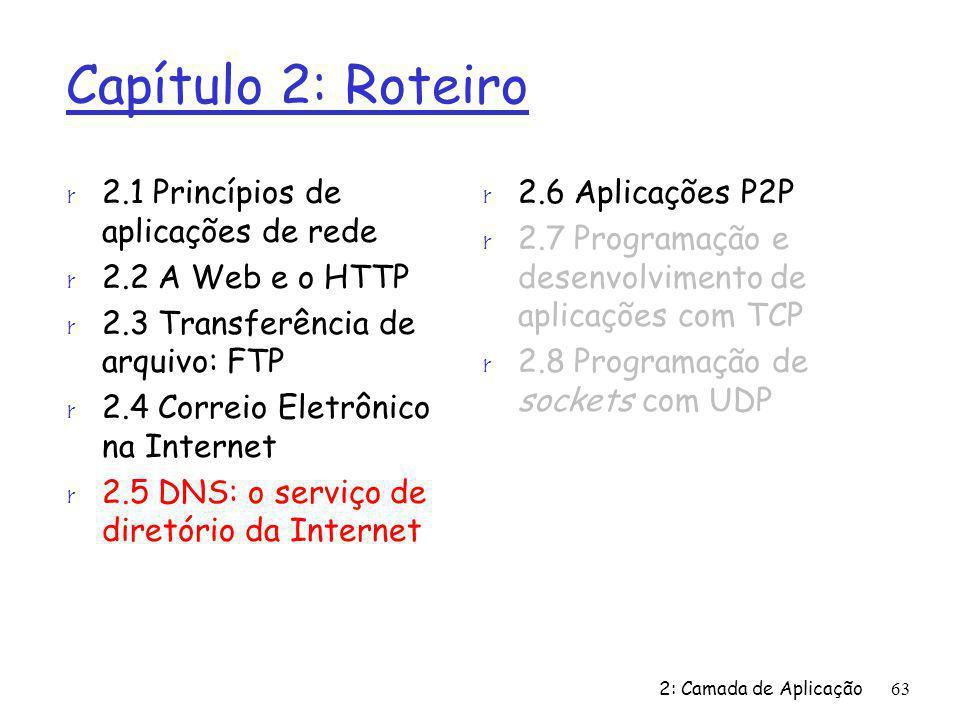 2: Camada de Aplicação63 Capítulo 2: Roteiro r 2.1 Princípios de aplicações de rede r 2.2 A Web e o HTTP r 2.3 Transferência de arquivo: FTP r 2.4 Cor