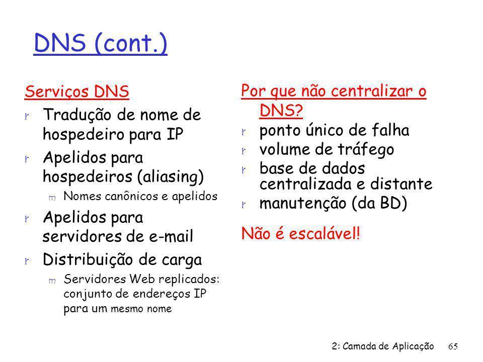 2: Camada de Aplicação65 DNS (cont.) Serviços DNS r Tradução de nome de hospedeiro para IP r Apelidos para hospedeiros (aliasing) m Nomes canônicos e apelidos r Apelidos para servidores de e-mail r Distribuição de carga m Servidores Web replicados: conjunto de endereços IP para um mesmo nome Por que não centralizar o DNS.