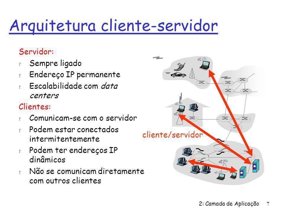 2: Camada de Aplicação7 Arquitetura cliente-servidor Servidor: r Sempre ligado r Endereço IP permanente r Escalabilidade com data centers Clientes: r Comunicam-se com o servidor r Podem estar conectados intermitentemente r Podem ter endereços IP dinâmicos r Não se comunicam diretamente com outros clientes cliente/servidor