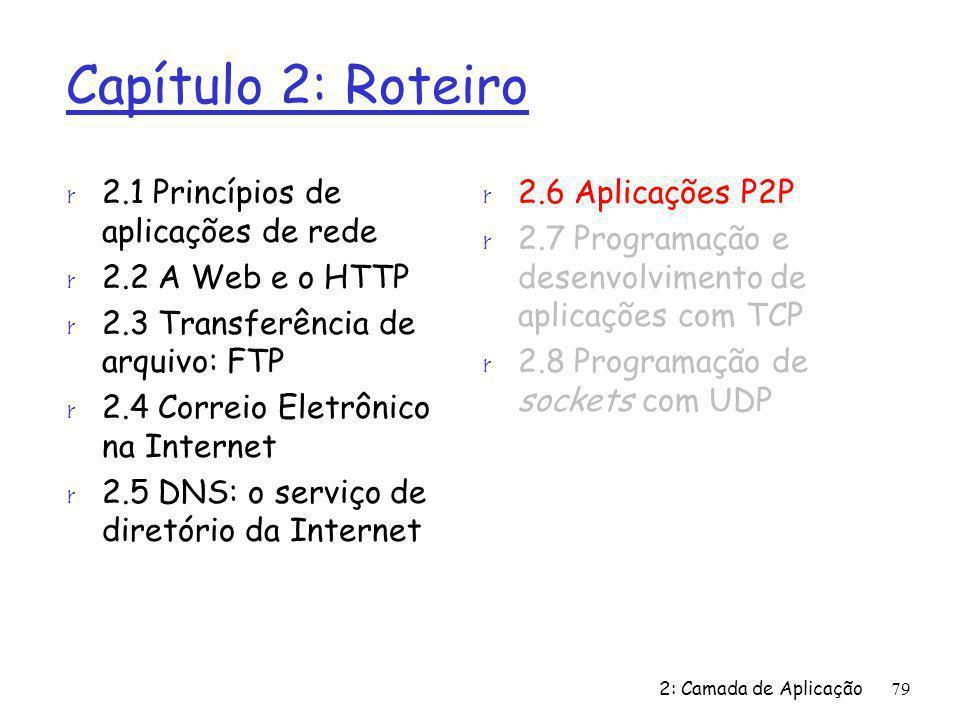 2: Camada de Aplicação79 Capítulo 2: Roteiro r 2.1 Princípios de aplicações de rede r 2.2 A Web e o HTTP r 2.3 Transferência de arquivo: FTP r 2.4 Cor