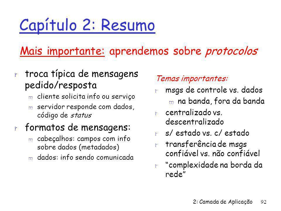 2: Camada de Aplicação92 Capítulo 2: Resumo r troca típica de mensagens pedido/resposta m cliente solicita info ou serviço m servidor responde com dad