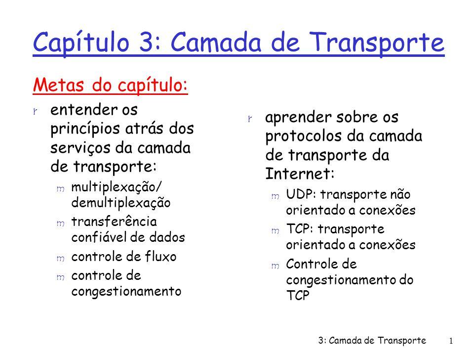 Demultiplexação Orientada a Conexões: exemplo transport application physical link network P3 transport application physical link P4 transport application physical link network P2 source IP,port: A,9157 dest IP, port: B,80 source IP,port: B,80 dest IP,port: A,9157 host: IP address A host: IP address C network P6 P5 P3 source IP,port: C,5775 dest IP,port: B,80 source IP,port: C,9157 dest IP,port: B,80 três segmentos, todos destinados ao endereço IP: B, dest port: 80 são demultiplexados para sockets distintos server: IP address B 3: Camada de Transporte12