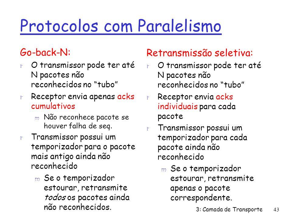 Protocolos com Paralelismo Go-back-N: r O transmissor pode ter até N pacotes não reconhecidos no tubo r Receptor envia apenas acks cumulativos m Não r