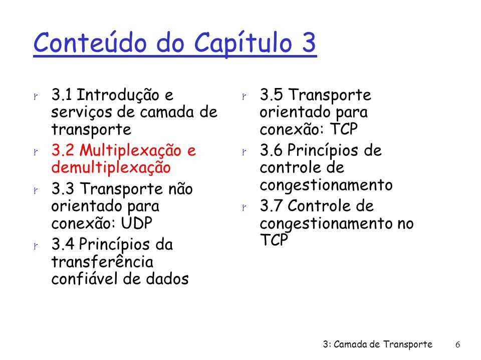 TCP: nos. de seq. e ACKs cenário telnet simples 3: Camada de Transporte57