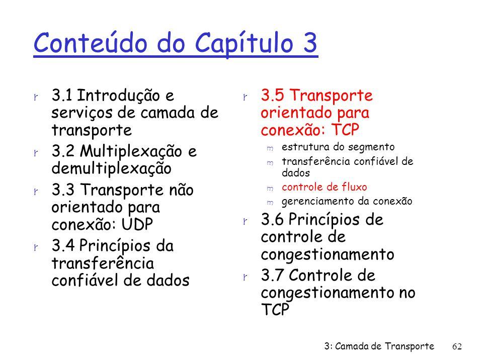 Conteúdo do Capítulo 3 r 3.1 Introdução e serviços de camada de transporte r 3.2 Multiplexação e demultiplexação r 3.3 Transporte não orientado para c