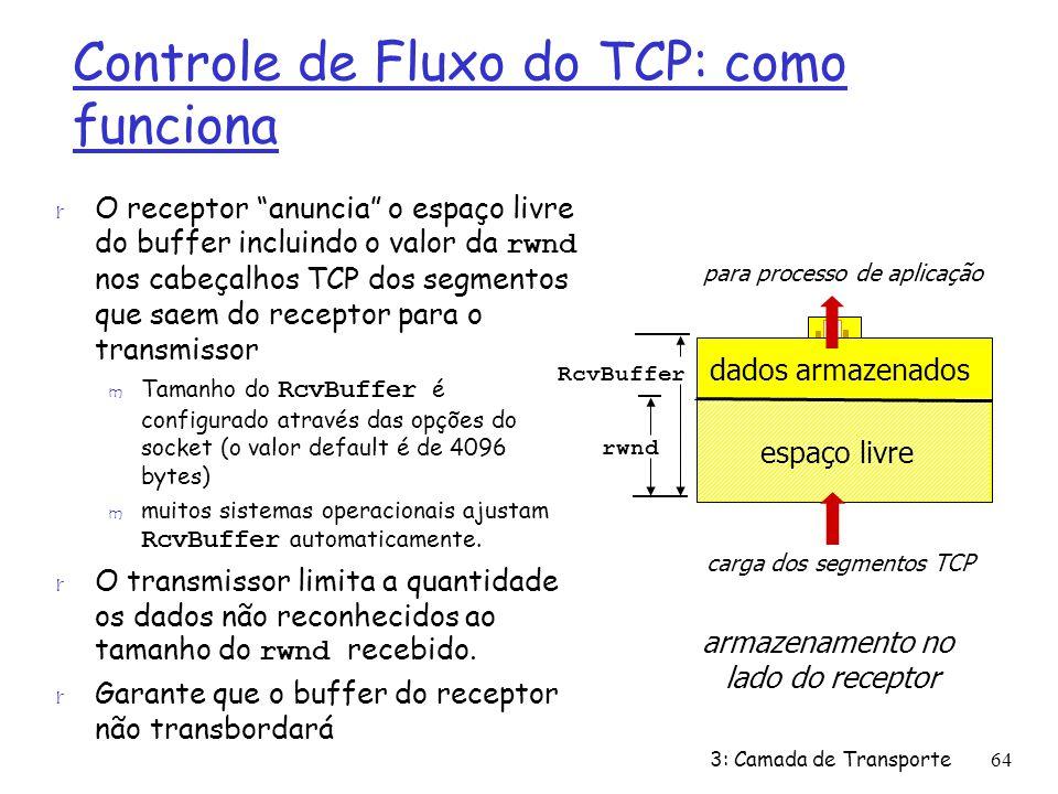 Controle de Fluxo do TCP: como funciona O receptor anuncia o espaço livre do buffer incluindo o valor da rwnd nos cabeçalhos TCP dos segmentos que sae