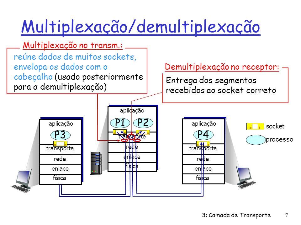 r computador recebe os datagramas IP m cada datagrama possui os endereços IP da origem e do destino m cada datagrama transporta 1 segmento da camada de transporte m cada segmento possui números das portas origem e destino r O hospedeiro usa os endereços IP e os números das portas para direcionar o segmento ao socket apropriado Como funciona a demultiplexação porta origemporta destino 32 bits dados da aplicação (mensagem) outros campos do cabeçalho formato de segmento TCP/UDP 3: Camada de Transporte8