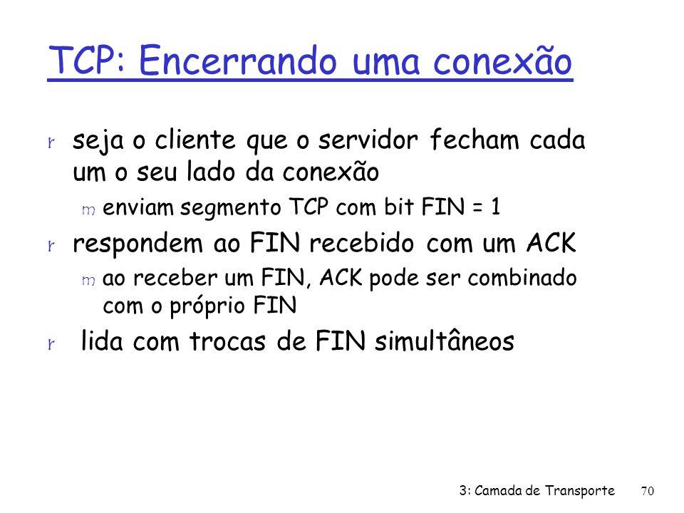 TCP: Encerrando uma conexão r seja o cliente que o servidor fecham cada um o seu lado da conexão m enviam segmento TCP com bit FIN = 1 r respondem ao