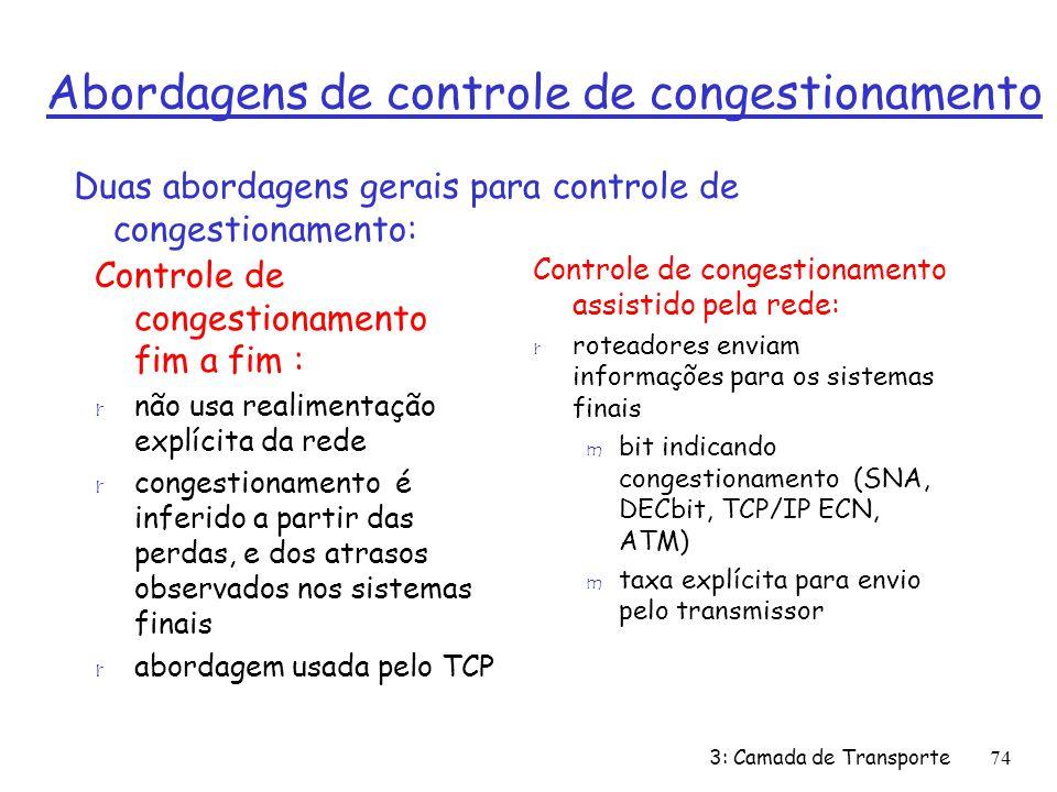 Abordagens de controle de congestionamento Controle de congestionamento fim a fim : r não usa realimentação explícita da rede r congestionamento é inf