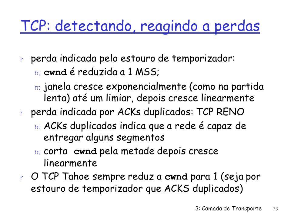 TCP: detectando, reagindo a perdas r perda indicada pelo estouro de temporizador: cwnd é reduzida a 1 MSS; m janela cresce exponencialmente (como na p