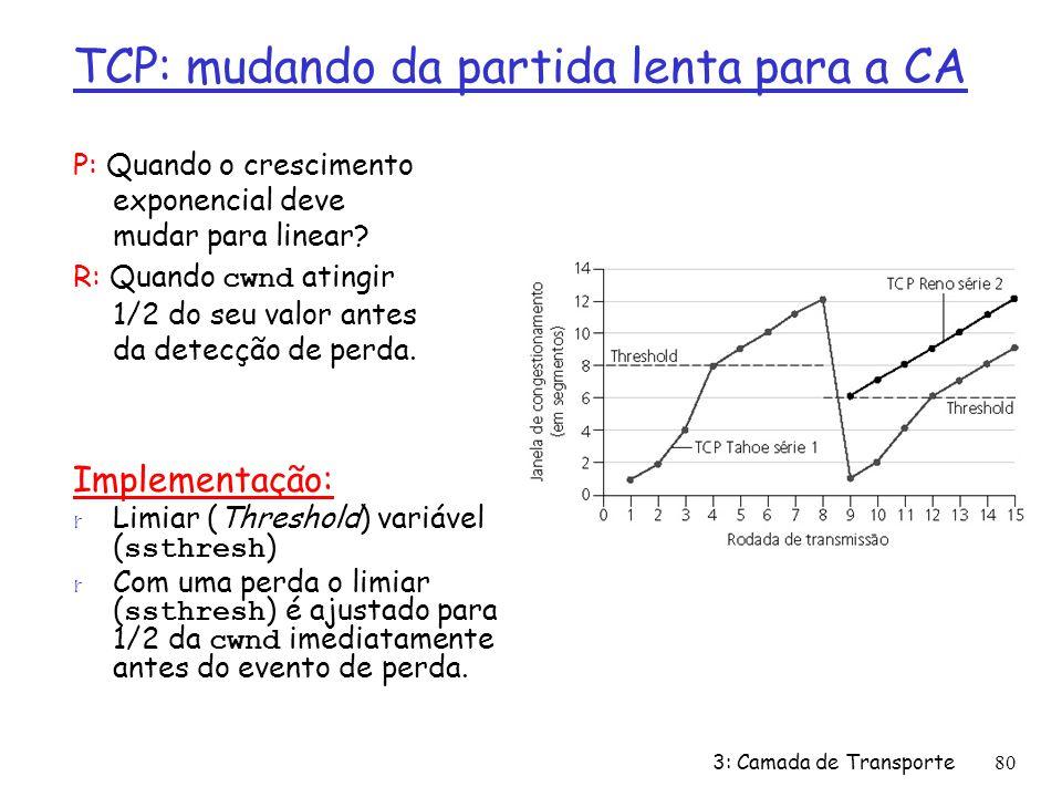 TCP: mudando da partida lenta para a CA P: Quando o crescimento exponencial deve mudar para linear? R: Quando cwnd atingir 1/2 do seu valor antes da d