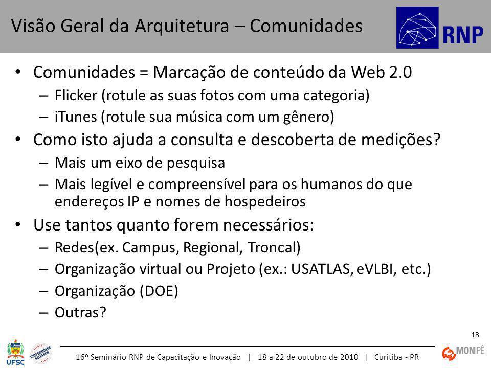 16º Seminário RNP de Capacitação e Inovação | 18 a 22 de outubro de 2010 | Curitiba - PR 18 Comunidades = Marcação de conteúdo da Web 2.0 – Flicker (rotule as suas fotos com uma categoria) – iTunes (rotule sua música com um gênero) Como isto ajuda a consulta e descoberta de medições.
