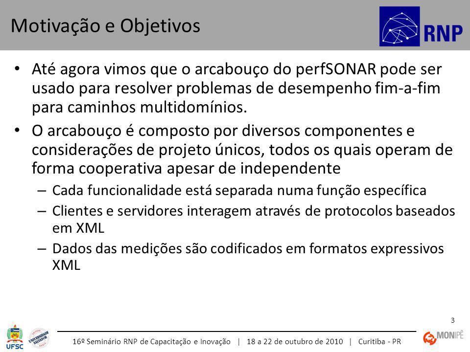 16º Seminário RNP de Capacitação e Inovação | 18 a 22 de outubro de 2010 | Curitiba - PR 4 Middleware de medições de redes interoperável: – Modular – Baseado em serviços Web – Descentralizado – Controlado localmente Integra – Ferramentas de medições de rede e arquivos de dados – Manipulação de dados – Serviços de informação Descoberta Topologia Autenticação e autorização Baseado em: – Esquemas do Grupo de Trabalho de Medições de Rede (NM) do Open Grid Forum (OGF) – Atualmente está sendo formalizada a especificação dos protocolos perfSONAR no grupo de trabalho de Controle de Medições de Rede (NMC) – A descrição da topologia da rede está sendo definida pelo Grupo e Trabalho de Linguagem de Marcação de Rede (NML) Arquitetura Orientada a Serviços (SOA)