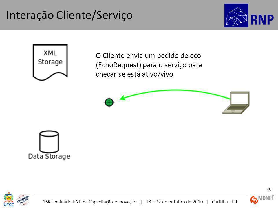 16º Seminário RNP de Capacitação e Inovação | 18 a 22 de outubro de 2010 | Curitiba - PR 40 Interação Cliente/Serviço O Cliente envia um pedido de eco (EchoRequest) para o serviço para checar se está ativo/vivo