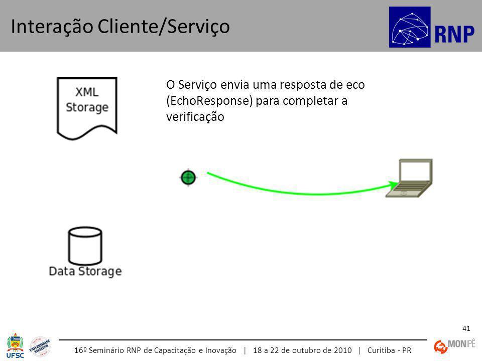 16º Seminário RNP de Capacitação e Inovação | 18 a 22 de outubro de 2010 | Curitiba - PR 41 Interação Cliente/Serviço O Serviço envia uma resposta de eco (EchoResponse) para completar a verificação