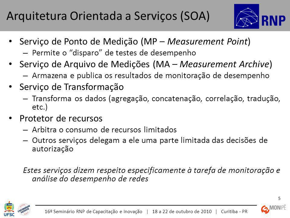 16º Seminário RNP de Capacitação e Inovação | 18 a 22 de outubro de 2010 | Curitiba - PR 5 Serviço de Ponto de Medição (MP – Measurement Point) – Permite o disparo de testes de desempenho Serviço de Arquivo de Medições (MA – Measurement Archive) – Armazena e publica os resultados de monitoração de desempenho Serviço de Transformação – Transforma os dados (agregação, concatenação, correlação, tradução, etc.) Protetor de recursos – Arbitra o consumo de recursos limitados – Outros serviços delegam a ele uma parte limitada das decisões de autorização Estes serviços dizem respeito especificamente à tarefa de monitoração e análise do desempenho de redes Arquitetura Orientada a Serviços (SOA)