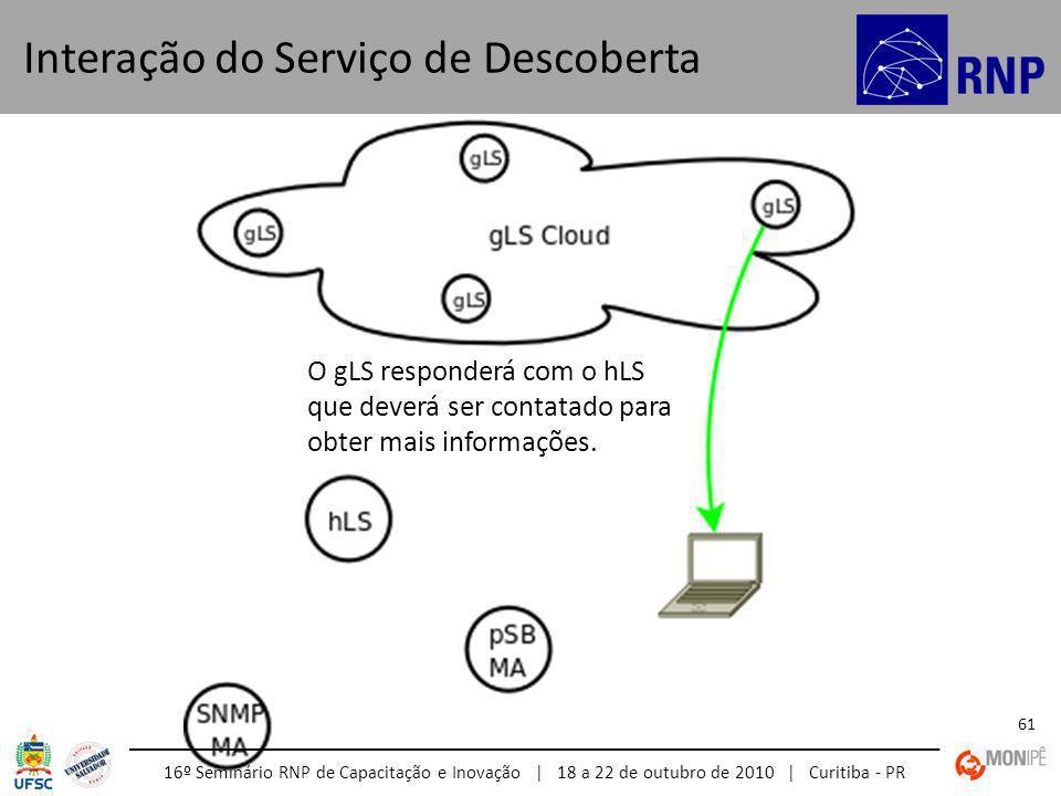 16º Seminário RNP de Capacitação e Inovação | 18 a 22 de outubro de 2010 | Curitiba - PR 61 Interação do Serviço de Descoberta O gLS responderá com o hLS que deverá ser contatado para obter mais informações.