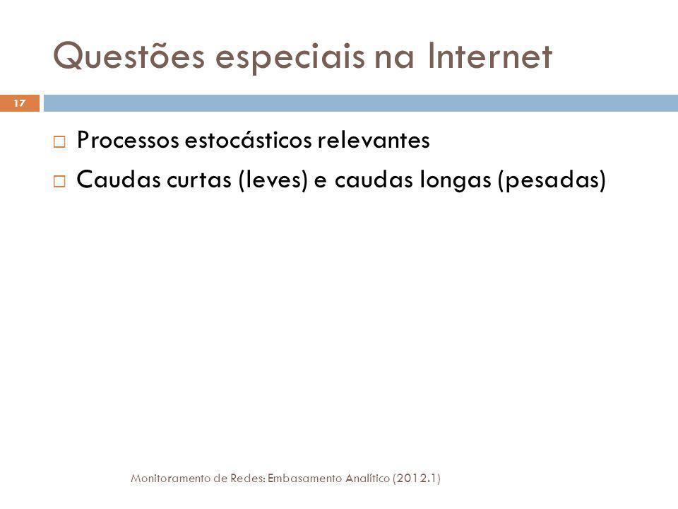 Questões especiais na Internet Monitoramento de Redes: Embasamento Analítico (2012.1) 17 Processos estocásticos relevantes Caudas curtas (leves) e caudas longas (pesadas)