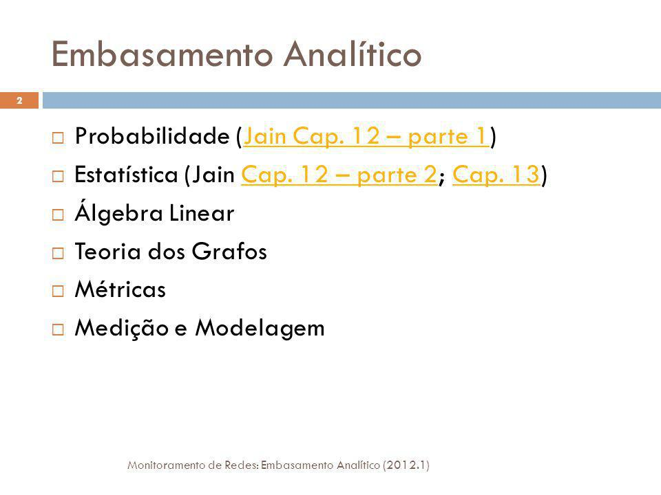 Embasamento Analítico Probabilidade (Jain Cap. 12 – parte 1)Jain Cap. 12 – parte 1 Estatística (Jain Cap. 12 – parte 2; Cap. 13)Cap. 12 – parte 2Cap.