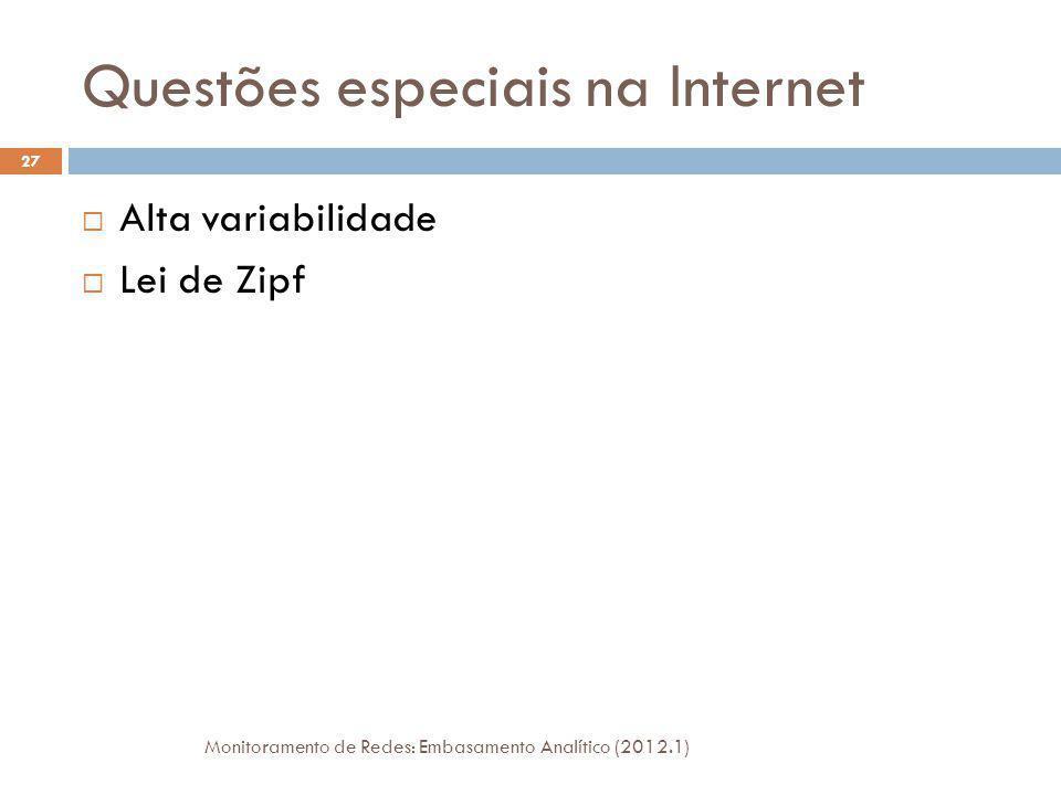 Questões especiais na Internet Monitoramento de Redes: Embasamento Analítico (2012.1) 27 Alta variabilidade Lei de Zipf