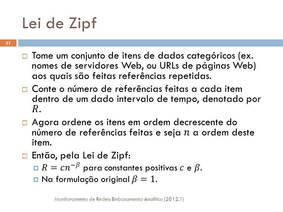 Lei de Zipf Monitoramento de Redes: Embasamento Analítico (2012.1) 31