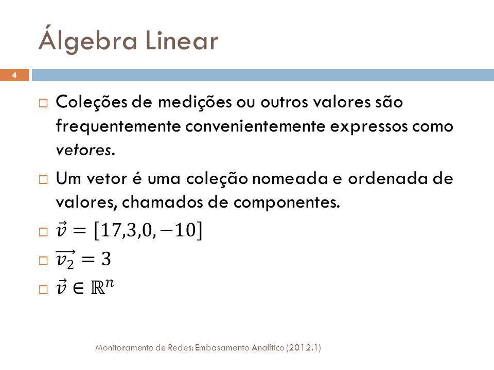 Álgebra Linear Monitoramento de Redes: Embasamento Analítico (2012.1) 4