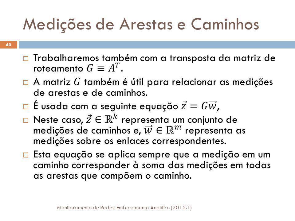 Medições de Arestas e Caminhos Monitoramento de Redes: Embasamento Analítico (2012.1) 40