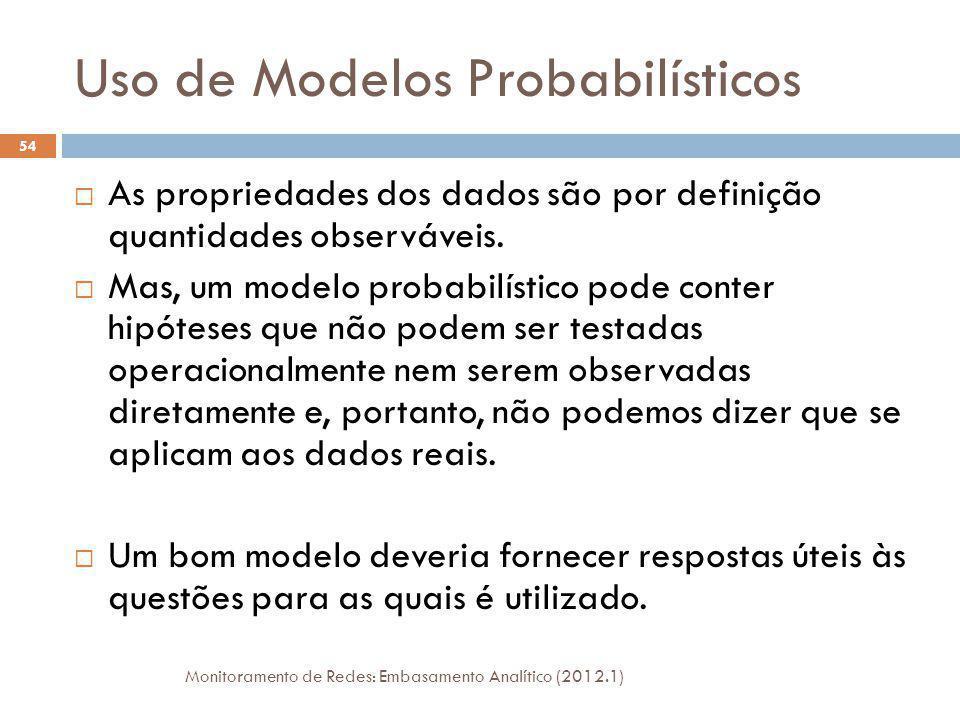 Uso de Modelos Probabilísticos As propriedades dos dados são por definição quantidades observáveis. Mas, um modelo probabilístico pode conter hipótese