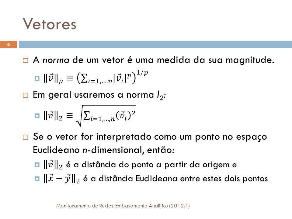 Vetores Monitoramento de Redes: Embasamento Analítico (2012.1) 6