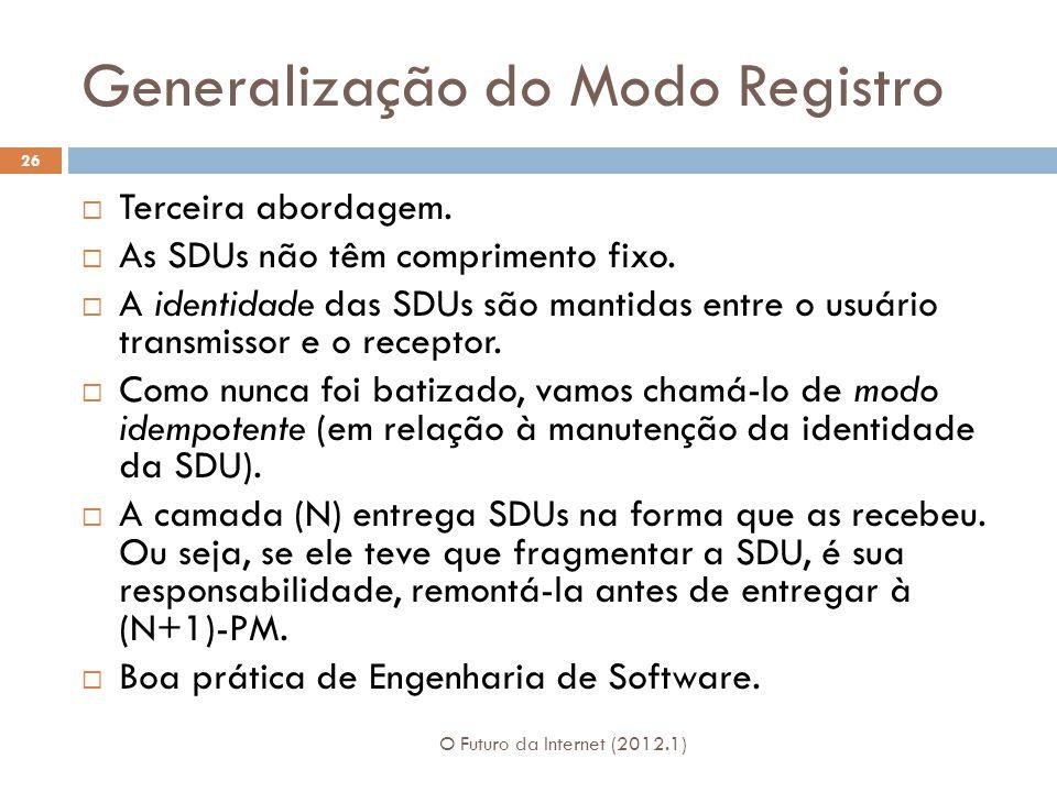 Generalização do Modo Registro O Futuro da Internet (2012.1) 26 Terceira abordagem. As SDUs não têm comprimento fixo. A identidade das SDUs são mantid