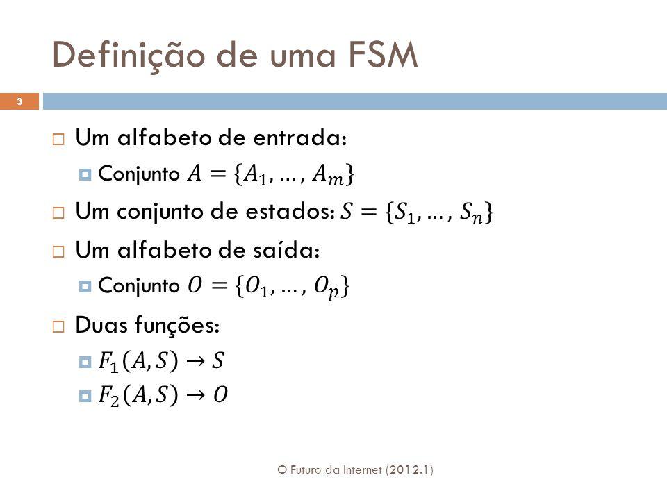 Representação de uma FSM Grafo: Nós representam os estados Arcos representam a função F 1 Os arcos são rotulados com a entrada e a saída da função F 2 Podem ser representadas também através de uma tabela 4 O Futuro da Internet (2012.1)