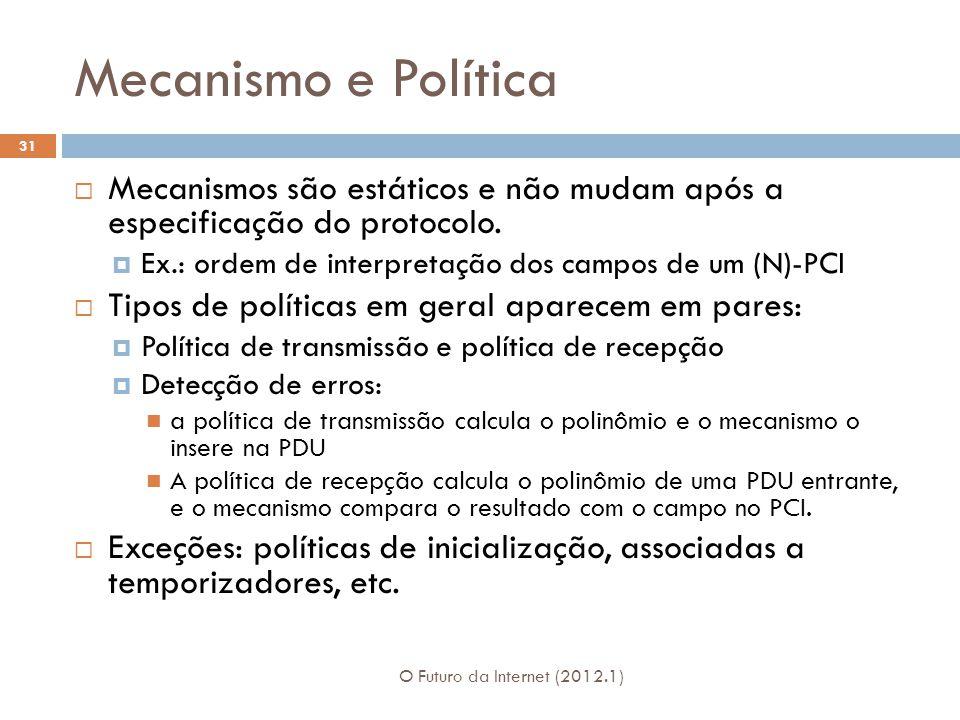 Mecanismo e Política O Futuro da Internet (2012.1) 31 Mecanismos são estáticos e não mudam após a especificação do protocolo. Ex.: ordem de interpreta