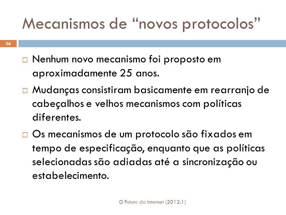 Mecanismos de novos protocolos O Futuro da Internet (2012.1) 36 Nenhum novo mecanismo foi proposto em aproximadamente 25 anos. Mudanças consistiram ba