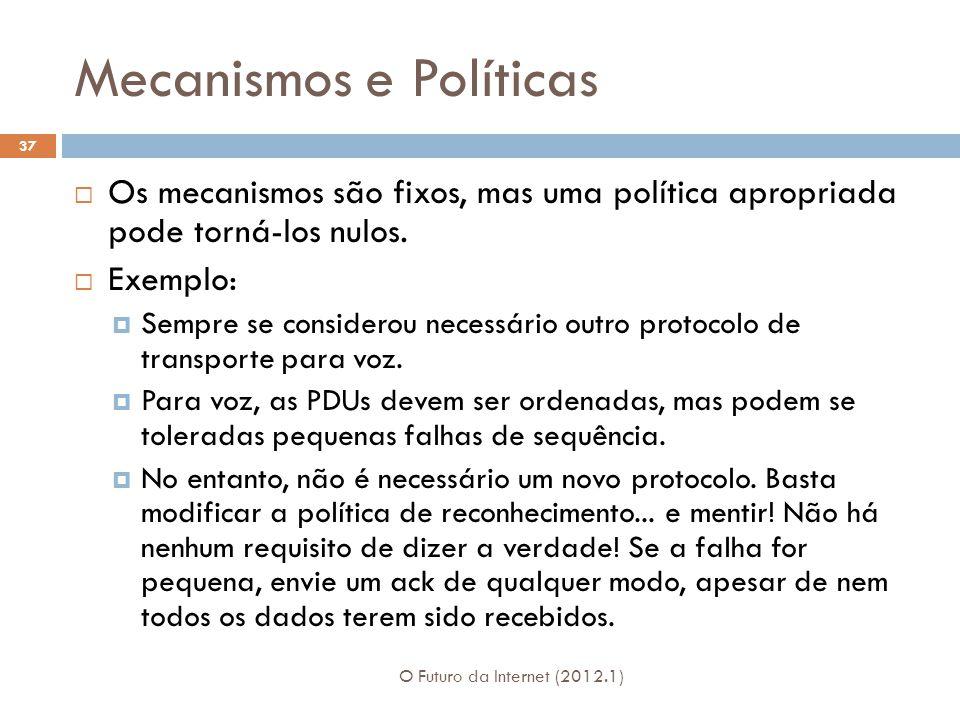Mecanismos e Políticas O Futuro da Internet (2012.1) 37 Os mecanismos são fixos, mas uma política apropriada pode torná-los nulos. Exemplo: Sempre se