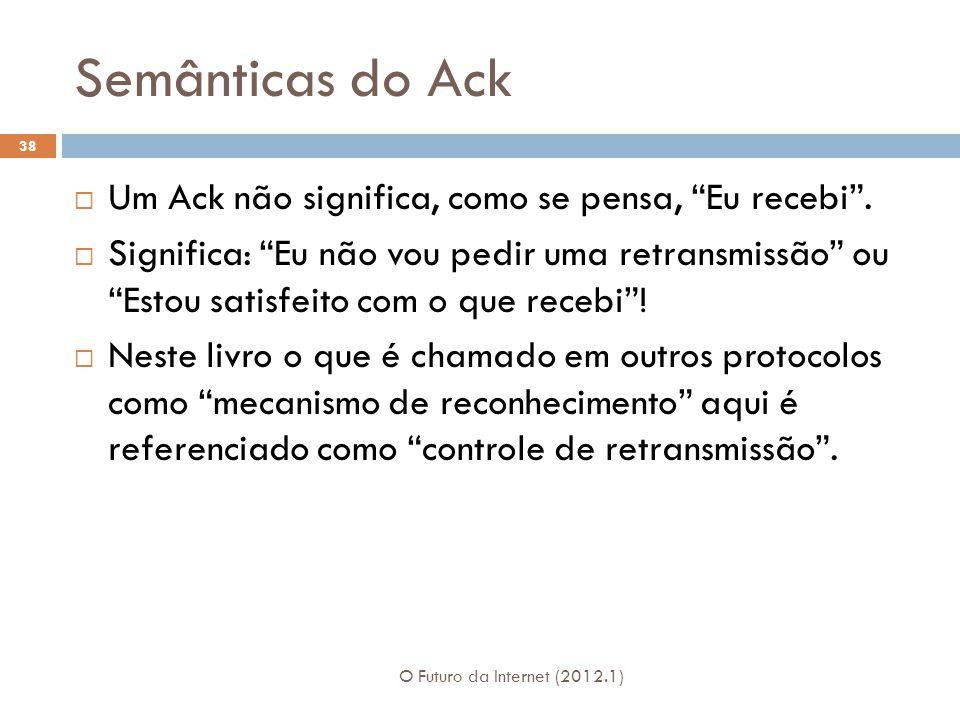 Semânticas do Ack O Futuro da Internet (2012.1) 38 Um Ack não significa, como se pensa, Eu recebi. Significa: Eu não vou pedir uma retransmissão ou Es