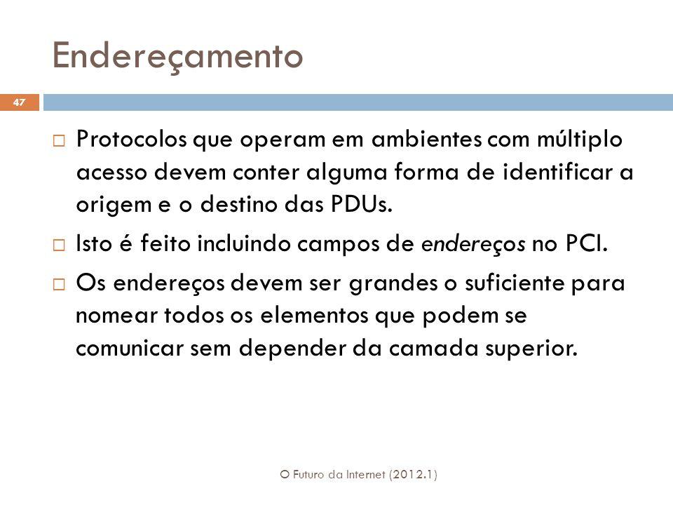 Endereçamento O Futuro da Internet (2012.1) 47 Protocolos que operam em ambientes com múltiplo acesso devem conter alguma forma de identificar a orige
