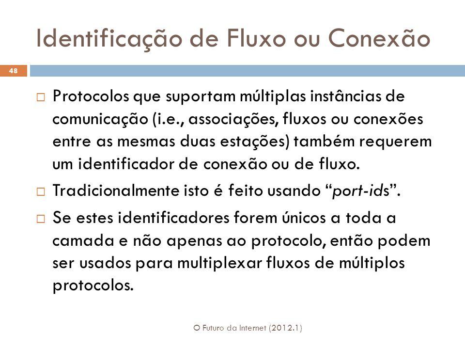 Identificação de Fluxo ou Conexão O Futuro da Internet (2012.1) 48 Protocolos que suportam múltiplas instâncias de comunicação (i.e., associações, flu
