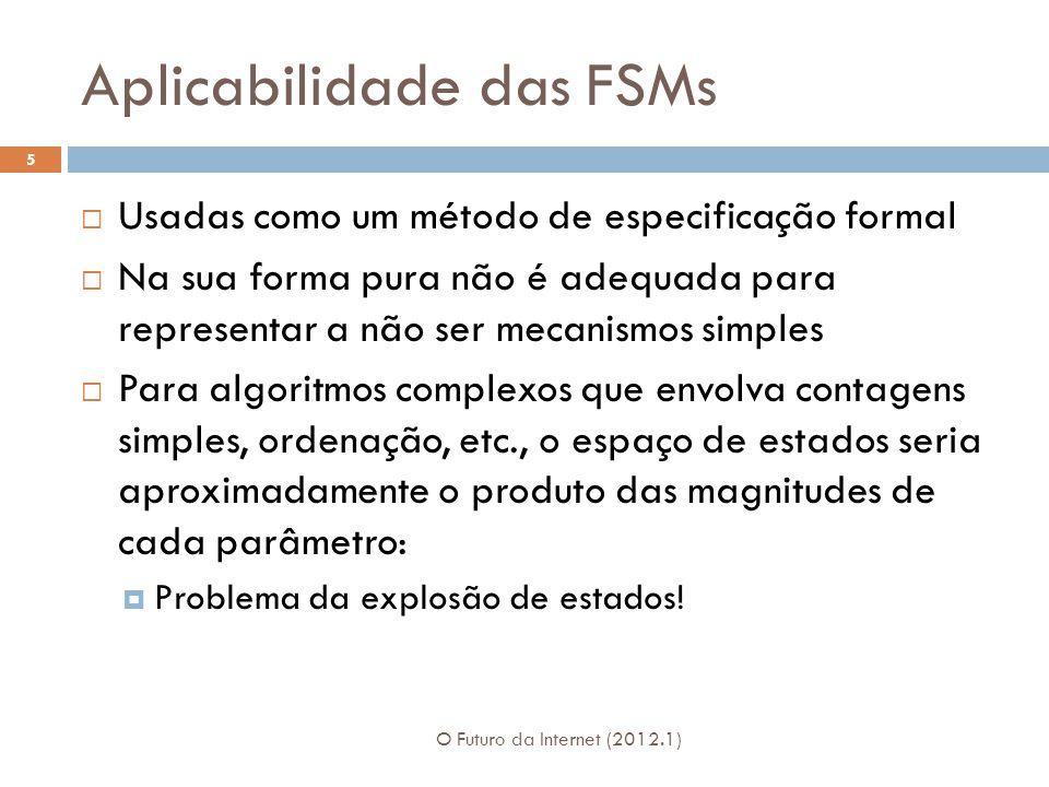 Aplicabilidade das FSMs O Futuro da Internet (2012.1) 5 Usadas como um método de especificação formal Na sua forma pura não é adequada para representa